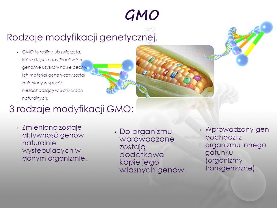 Zmieniona zostaje aktywność genów naturalnie występujących w danym organizmie. Wprowadzony gen pochodzi z organizmu innego gatunku (organizmy transgen