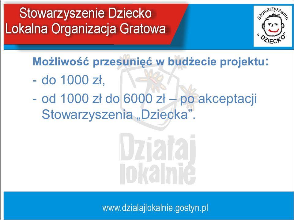 Możliwość przesunięć w budżecie projektu : -do 1000 zł, -od 1000 zł do 6000 zł – po akceptacji Stowarzyszenia Dziecka.