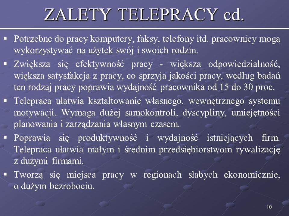 10 ZALETY TELEPRACY cd.Potrzebne do pracy komputery, faksy, telefony itd.
