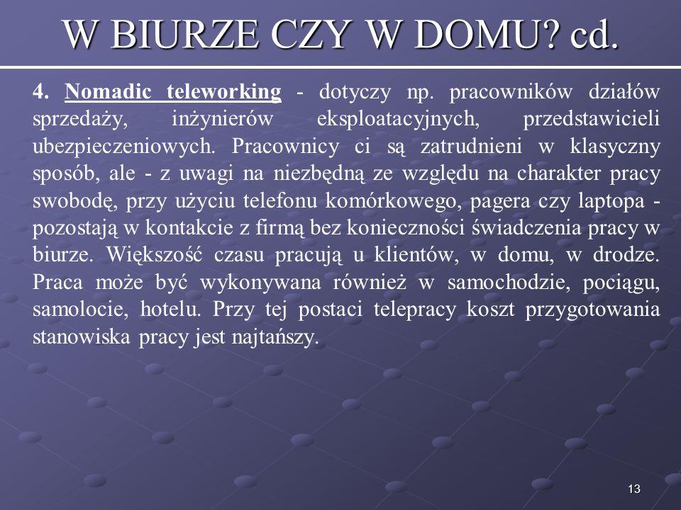 13 W BIURZE CZY W DOMU.cd. 4. Nomadic teleworking - dotyczy np.
