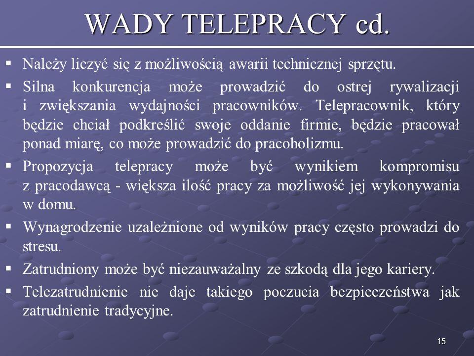 15 WADY TELEPRACY cd.Należy liczyć się z możliwością awarii technicznej sprzętu.