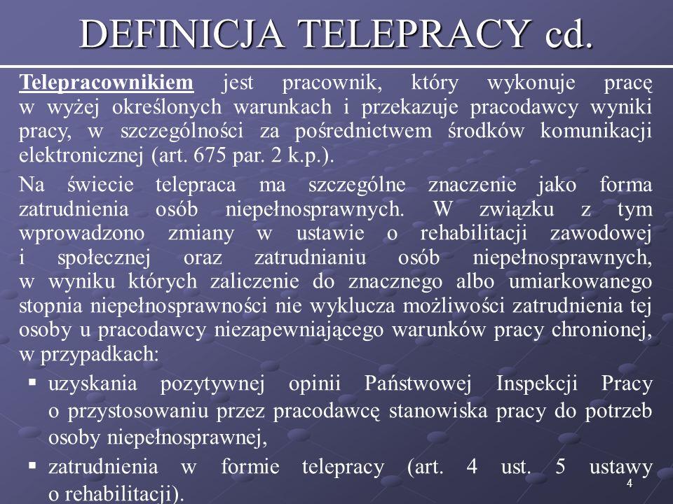 5 ZAWODY DLA TELEPRACY W formie telepracy wykonuje się czynności, które nie wymagają częstych, nieplanowanych konsultacji i można je sprecyzować.
