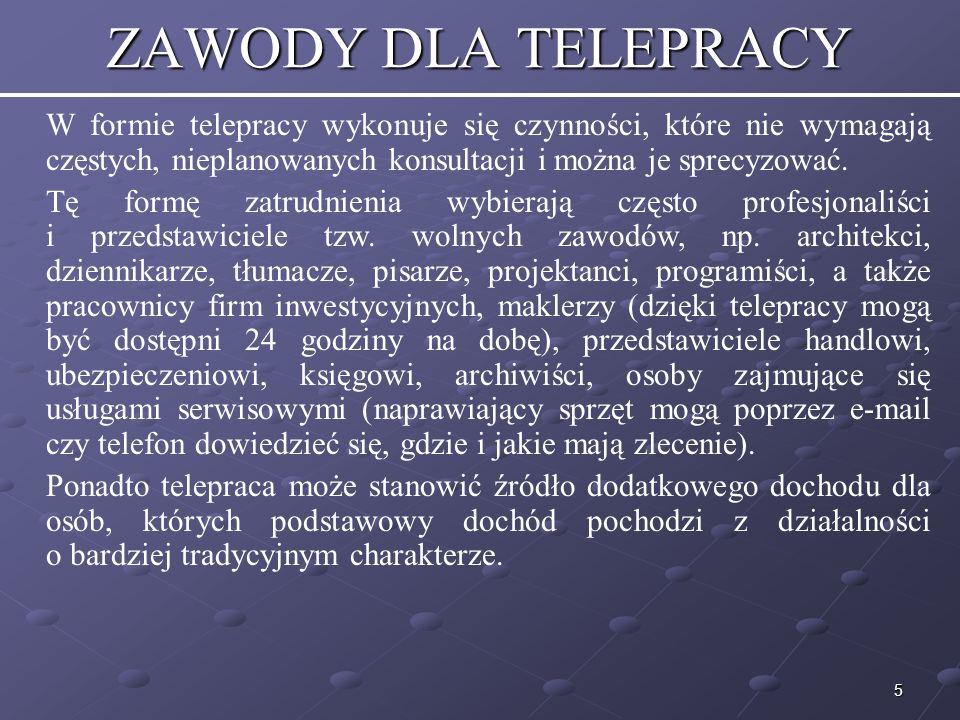 16 WADY TELEPRACY cd.Pracownik bez bieżącej kontroli może zaniedbywać się w pracy, np.