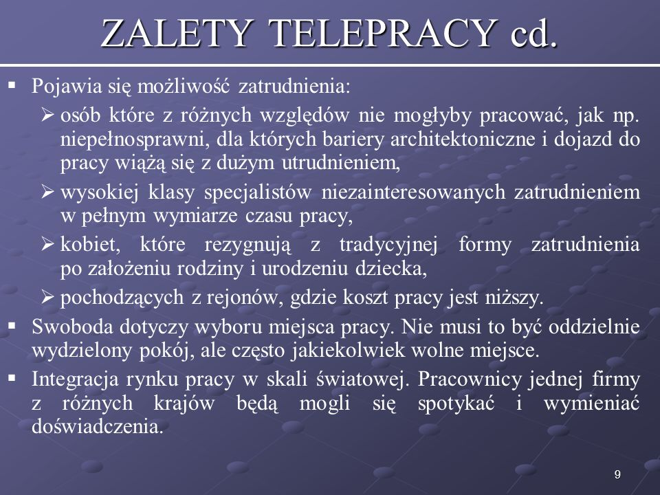 9 ZALETY TELEPRACY cd.