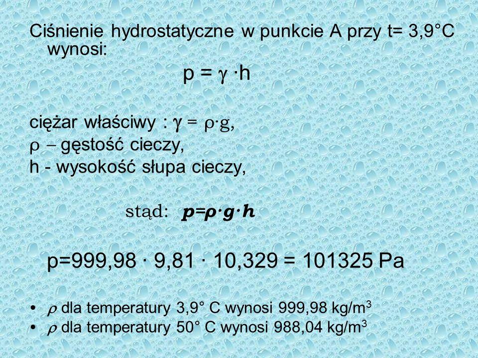 Ciśnienie hydrostatyczne w punkcie A przy t= 3,9°C wynosi: p = ·h ciężar właściwy : = ρ·g, ρ – gęstość cieczy, h - wysokość słupa cieczy, stąd: p=ρ·g·