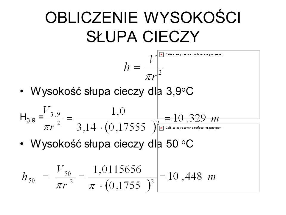 OBLICZENIE WYSOKOŚCI SŁUPA CIECZY Wysokość słupa cieczy dla 3,9 o C H 3,9 = Wysokość słupa cieczy dla 50 o C