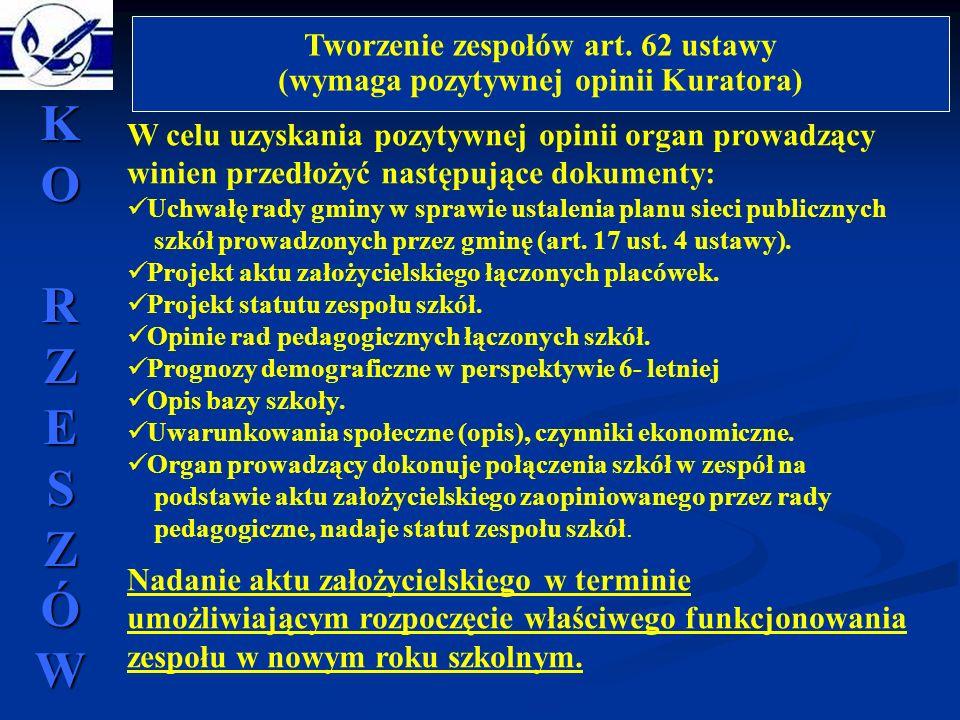 Tworzenie zespołów art. 62 ustawy (wymaga pozytywnej opinii Kuratora) W celu uzyskania pozytywnej opinii organ prowadzący winien przedłożyć następując