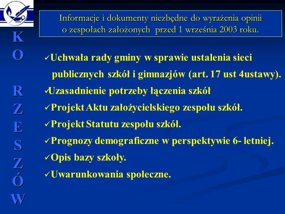 Uchwała rady gminy w sprawie ustalenia sieci publicznych szkół i gimnazjów (art. 17 ust 4ustawy). Uzasadnienie potrzeby łączenia szkół Projekt Aktu za