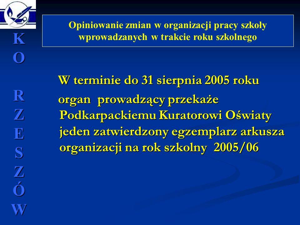 W terminie do 31 sierpnia 2005 roku W terminie do 31 sierpnia 2005 roku organ prowadzący przekaże Podkarpackiemu Kuratorowi Oświaty jeden zatwierdzony