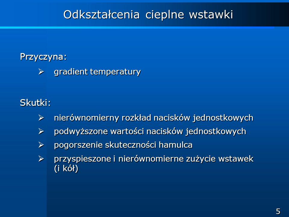 16 Wnioski Dla wstawek segmentowych wykazano: brak obszarów zwiększonych obciążeń cieplnych, brak obszarów zwiększonych obciążeń cieplnych, poprawną współpracę z kołem, poprawną współpracę z kołem, poprawę skuteczności hamulca, poprawę skuteczności hamulca, zmniejszenie wrażliwości na warunki klimatyczne, zmniejszenie wrażliwości na warunki klimatyczne, brak nierównomiernego zużycia (konieczna eksploatacja obserwowana), brak nierównomiernego zużycia (konieczna eksploatacja obserwowana), co oznacza, że: zmniejszone zostały odkształcenia cieplne wstawki, zmniejszone zostały odkształcenia cieplne wstawki, uzyskano równomierny rozkład nacisków jednostkowych na powierzchni styku wstawki i koła.