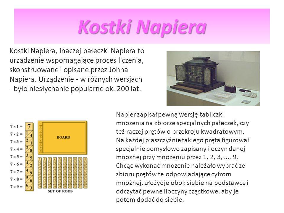 Kostki Napiera Kostki Napiera, inaczej pałeczki Napiera to urządzenie wspomagające proces liczenia, skonstruowane i opisane przez Johna Napiera. Urząd