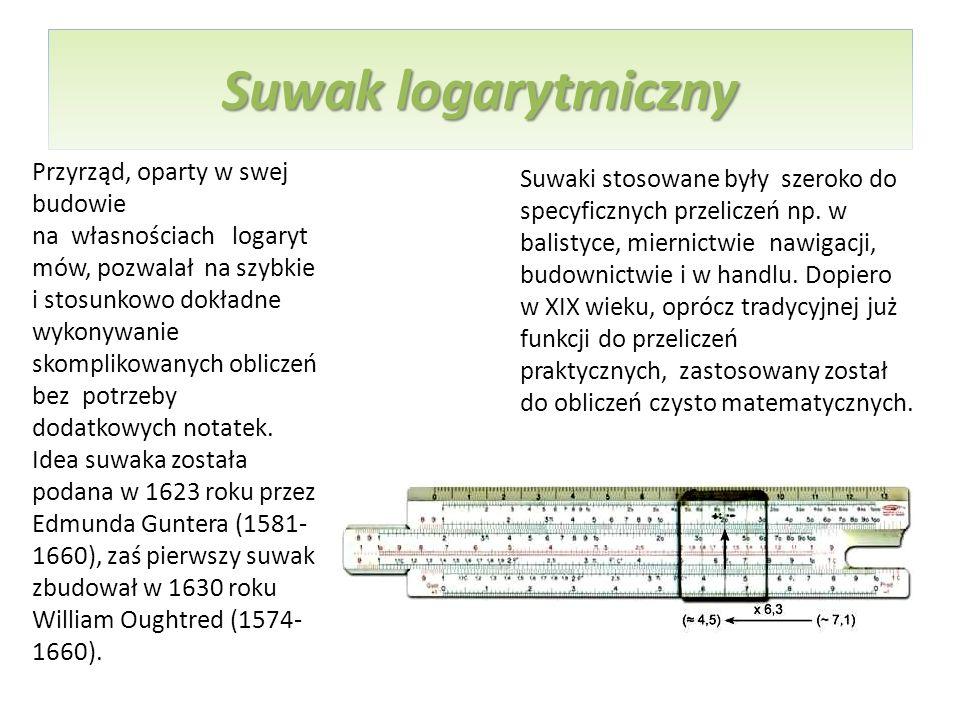 Suwak logarytmiczny Przyrząd, oparty w swej budowie na własnościach logaryt mów, pozwalał na szybkie i stosunkowo dokładne wykonywanie skomplikowanych