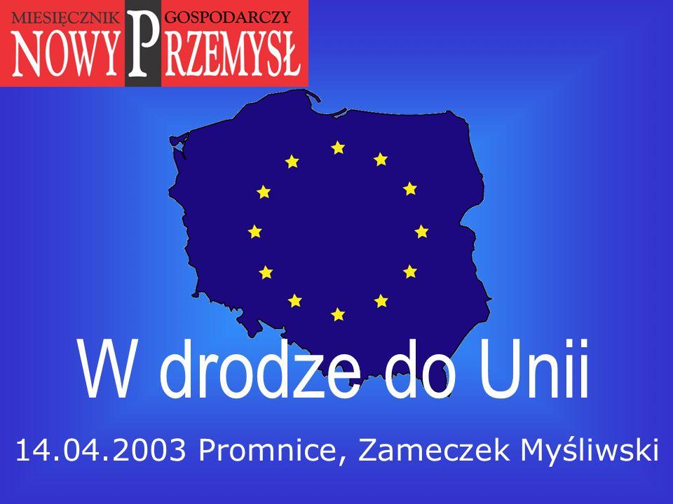Departament Analiz Ekonomicznych i Społecznych Urząd Komitetu Integracji Europejskiej W drodze do Unii 14.04.2003 Promnice, Zameczek Myśliwski