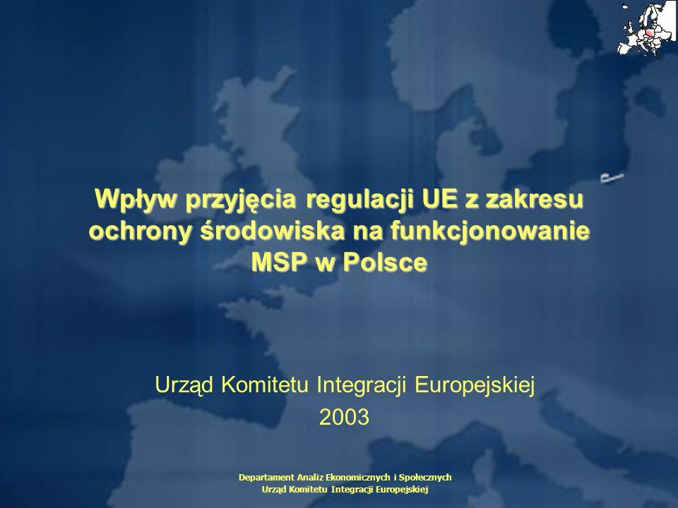Departament Analiz Ekonomicznych i Społecznych Urząd Komitetu Integracji Europejskiej Wpływ przyjęcia regulacji UE z zakresu ochrony środowiska na fun