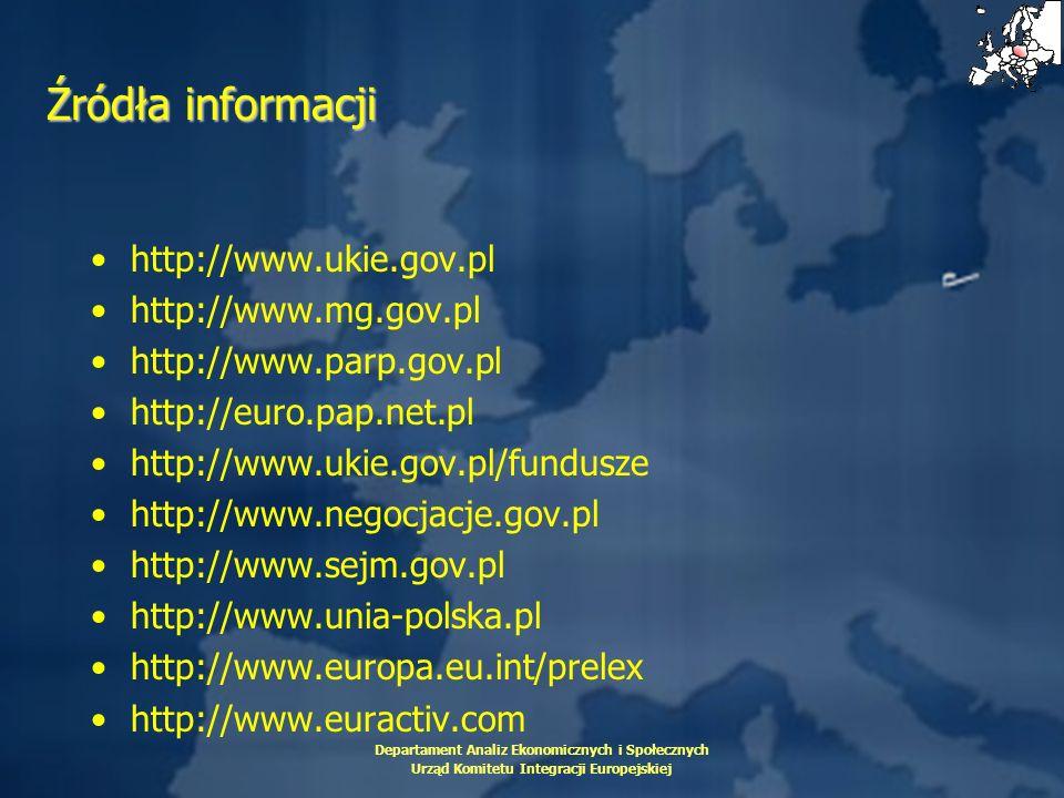 Departament Analiz Ekonomicznych i Społecznych Urząd Komitetu Integracji Europejskiej Źródła informacji http://www.ukie.gov.pl http://www.mg.gov.pl ht