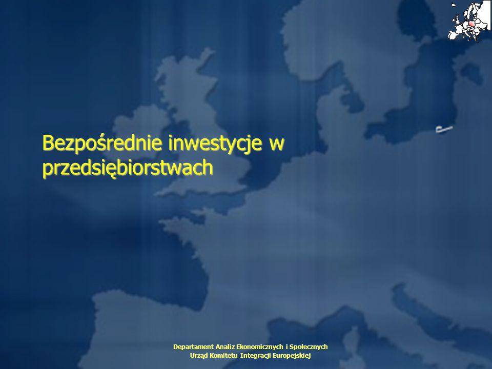 Departament Analiz Ekonomicznych i Społecznych Urząd Komitetu Integracji Europejskiej Bezpośrednie inwestycje w przedsiębiorstwach