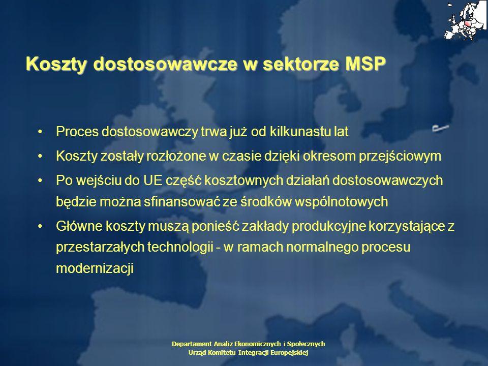 Departament Analiz Ekonomicznych i Społecznych Urząd Komitetu Integracji Europejskiej Koszty dostosowawcze w sektorze MSP Proces dostosowawczy trwa ju