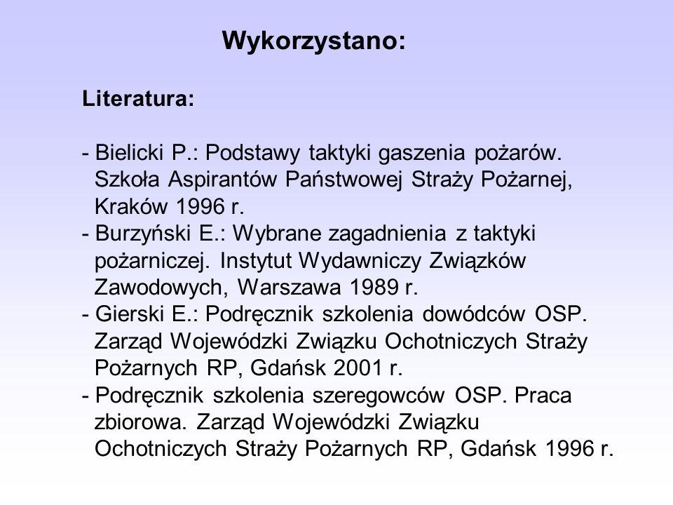 Wykorzystano: Literatura: - Bielicki P.: Podstawy taktyki gaszenia pożarów.