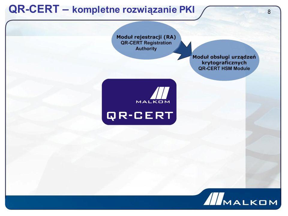 QR-CERT - Moduł interfejsów 19 Aplikacja QR-CERT umożliwia integrację z dowolnym systemem teleinformatycznym, za pośrednictwem interfejsu programistycznego API Dzięki takiemu podejściu system można wykorzystać według indywidualnych potrzeb funkcjonalnych realizowanego projektu.