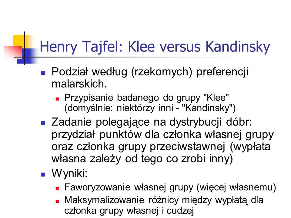 Henry Tajfel: Klee versus Kandinsky Podział według (rzekomych) preferencji malarskich. Przypisanie badanego do grupy