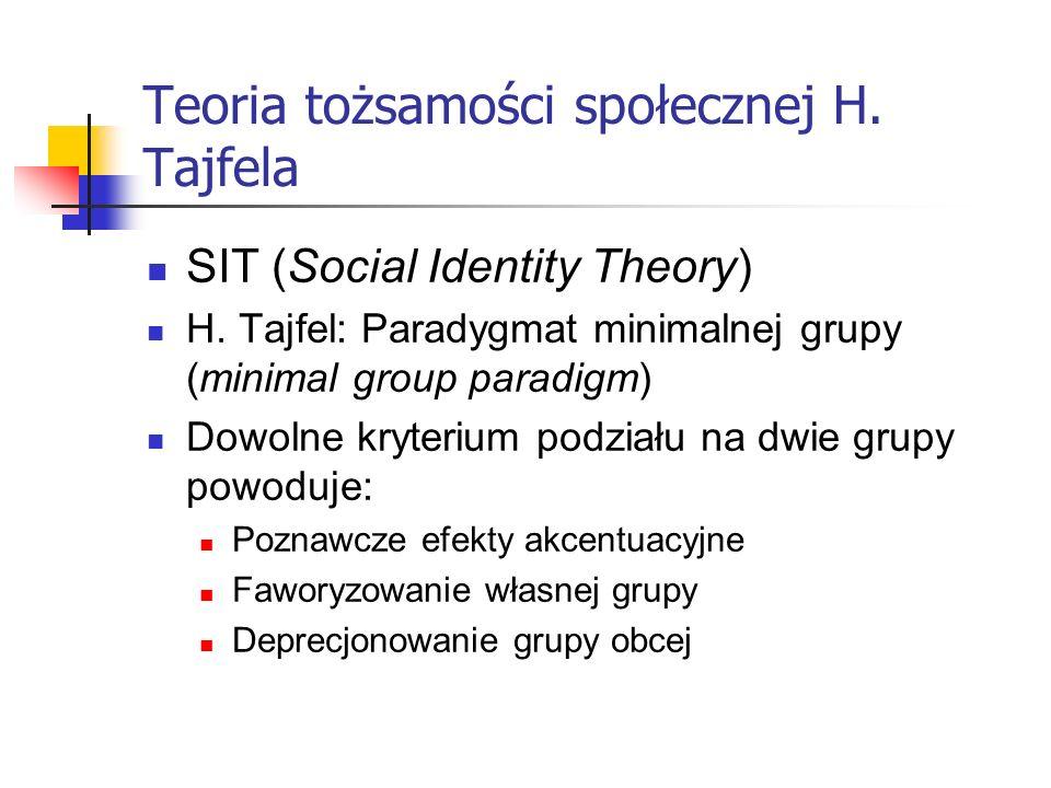 Teoria tożsamości społecznej H. Tajfela SIT (Social Identity Theory) H. Tajfel: Paradygmat minimalnej grupy (minimal group paradigm) Dowolne kryterium