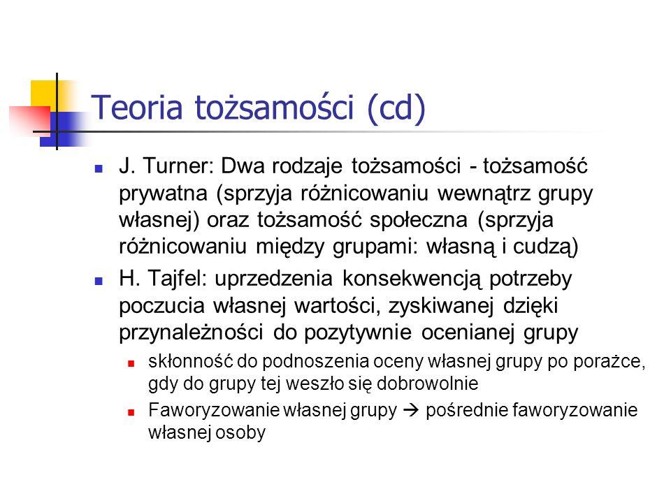Teoria tożsamości (cd) J. Turner: Dwa rodzaje tożsamości - tożsamość prywatna (sprzyja różnicowaniu wewnątrz grupy własnej) oraz tożsamość społeczna (