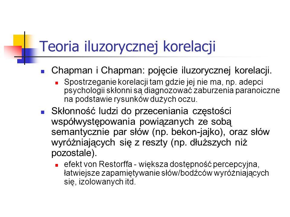 Teoria iluzorycznej korelacji Chapman i Chapman: pojęcie iluzorycznej korelacji. Spostrzeganie korelacji tam gdzie jej nie ma, np. adepci psychologii