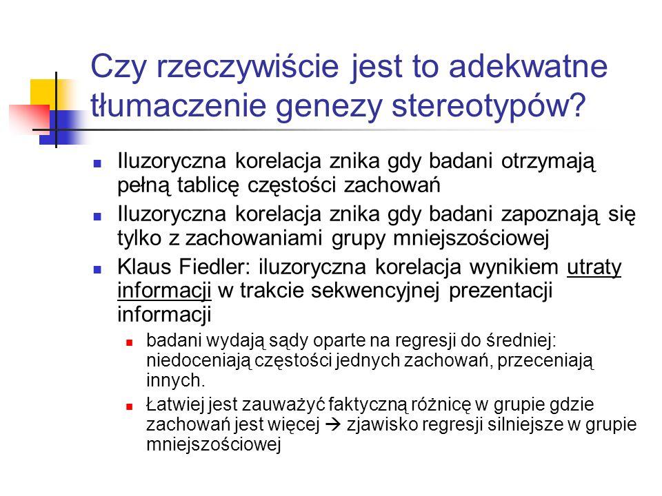 Czy rzeczywiście jest to adekwatne tłumaczenie genezy stereotypów? Iluzoryczna korelacja znika gdy badani otrzymają pełną tablicę częstości zachowań I