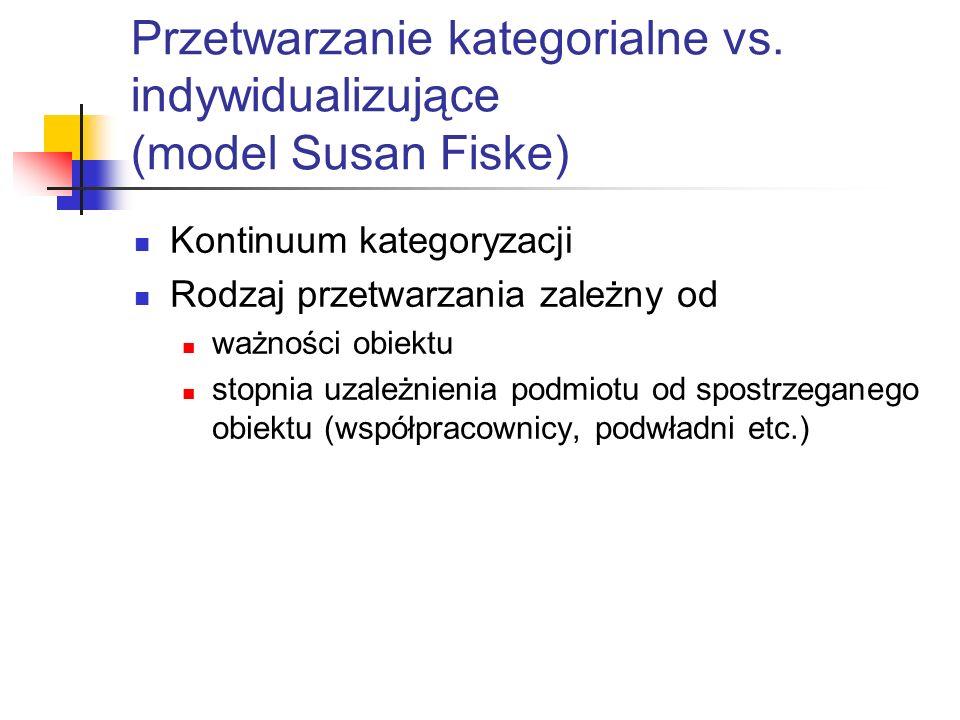 Przetwarzanie kategorialne vs. indywidualizujące (model Susan Fiske) Kontinuum kategoryzacji Rodzaj przetwarzania zależny od ważności obiektu stopnia