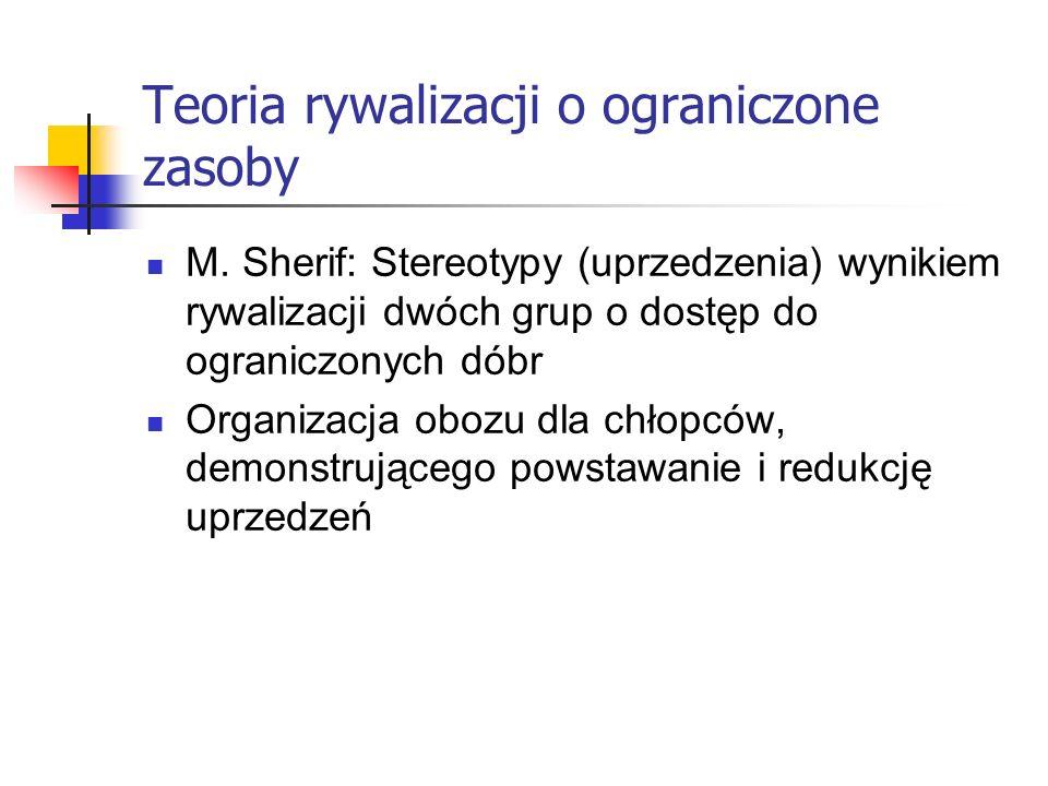 Teoria rywalizacji o ograniczone zasoby M. Sherif: Stereotypy (uprzedzenia) wynikiem rywalizacji dwóch grup o dostęp do ograniczonych dóbr Organizacja