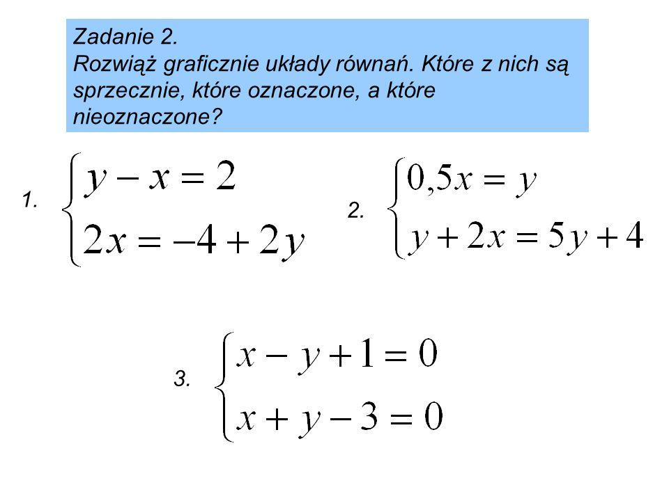 Zadanie 2. Rozwiąż graficznie układy równań. Które z nich są sprzecznie, które oznaczone, a które nieoznaczone? 2. 3. 1.