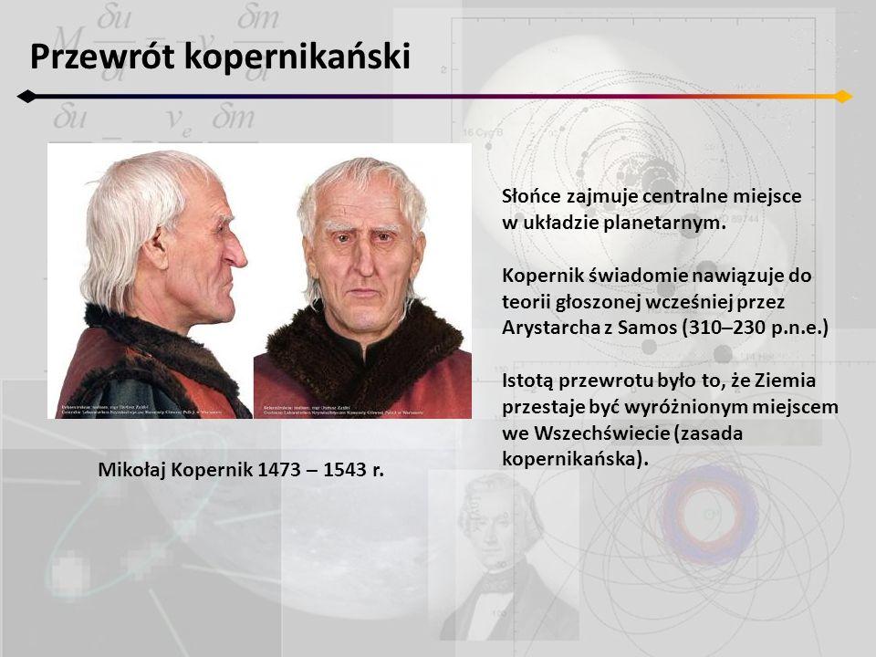 Przewrót kopernikański Mikołaj Kopernik 1473 – 1543 r. Słońce zajmuje centralne miejsce w układzie planetarnym. Kopernik świadomie nawiązuje do teorii