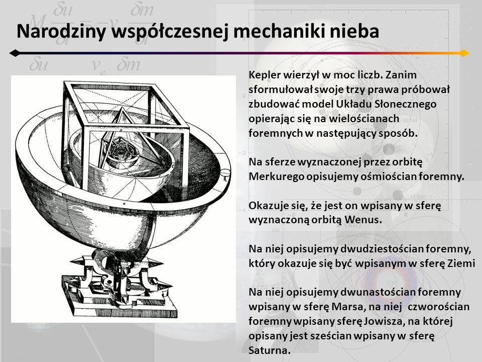 Narodziny współczesnej mechaniki nieba Kepler wierzył w moc liczb. Zanim sformułował swoje trzy prawa próbował zbudować model Układu Słonecznego opier