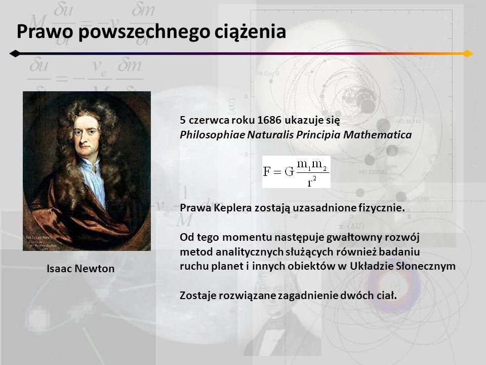 Prawo powszechnego ciążenia Isaac Newton 5 czerwca roku 1686 ukazuje się Philosophiae Naturalis Principia Mathematica Prawa Keplera zostają uzasadnion