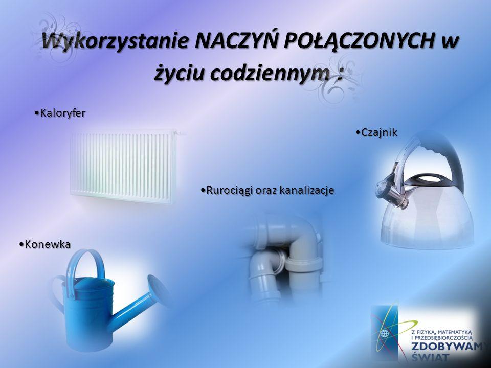 Poziomica rurkowa Wieża ciśnień Wiele urządzeń hydrotechnicznych Wykorzystanie naczyń połączonych:
