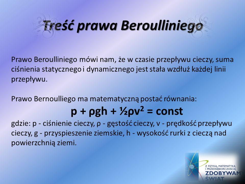 Prawo Beroulliego Prawo Bernoulliego jest podstawowym prawem hydrodynamiki, sformułowanym w 1738 roku przez szwajcarskiego matematyka - Daniela Bernou