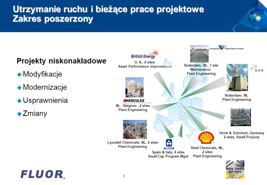 3 Utrzymanie ruchu i bieżące prace projektowe Zakres poszerzony Projekty niskonakładowe u Modyfikacje u Modernizacje u Usprawnienia u Zmiany NL, Belgi