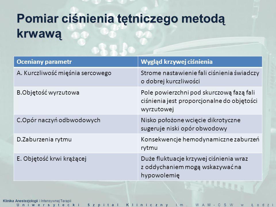 Klinika Anestezjologii i Intensywnej Terapii Uniwersytecki Szpital Kliniczny im. WAM-CSW w Łodzi Pomiar ciśnienia tętniczego metodą krwawą Oceniany pa