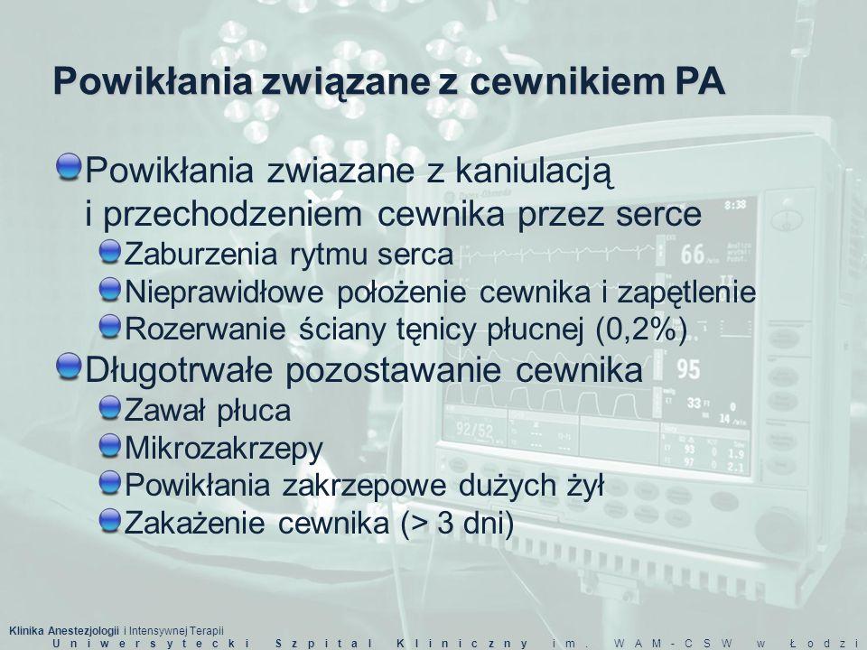 Klinika Anestezjologii i Intensywnej Terapii Uniwersytecki Szpital Kliniczny im. WAM-CSW w Łodzi Powikłania związane z cewnikiem PA Powikłania zwiazan