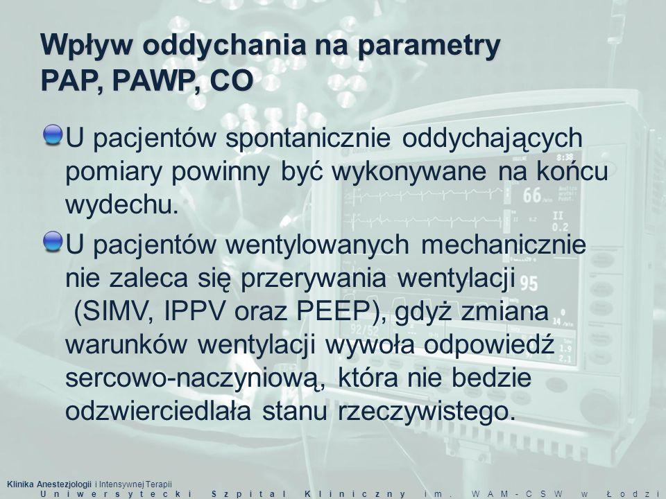 Klinika Anestezjologii i Intensywnej Terapii Uniwersytecki Szpital Kliniczny im. WAM-CSW w Łodzi Wpływ oddychania na parametry PAP, PAWP, CO U pacjent