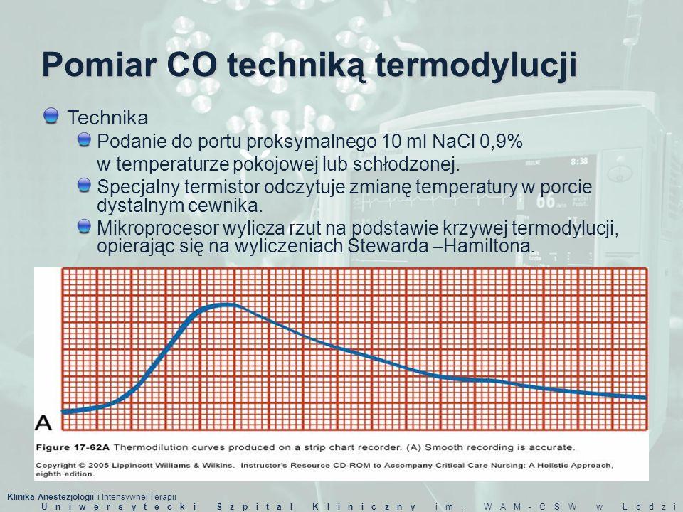 Klinika Anestezjologii i Intensywnej Terapii Uniwersytecki Szpital Kliniczny im. WAM-CSW w Łodzi Pomiar CO techniką termodylucji Technika Podanie do p