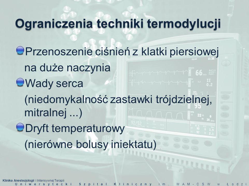 Klinika Anestezjologii i Intensywnej Terapii Uniwersytecki Szpital Kliniczny im. WAM-CSW w Łodzi Ograniczenia techniki termodylucji Przenoszenie ciśni