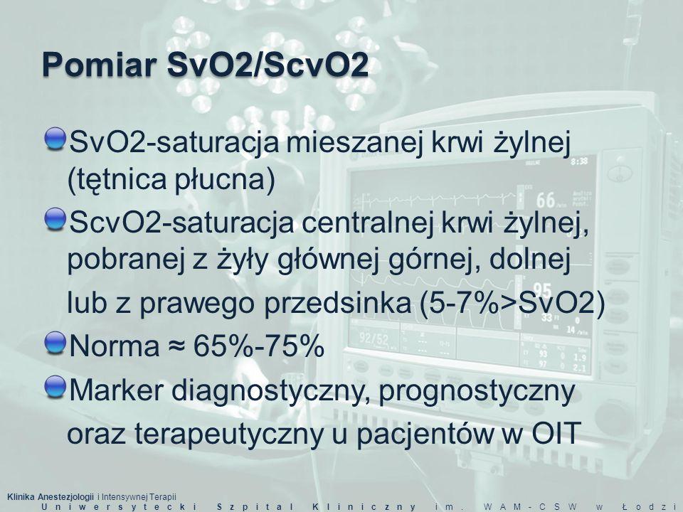 Klinika Anestezjologii i Intensywnej Terapii Uniwersytecki Szpital Kliniczny im. WAM-CSW w Łodzi Pomiar SvO2/ScvO2 SvO2-saturacja mieszanej krwi żylne