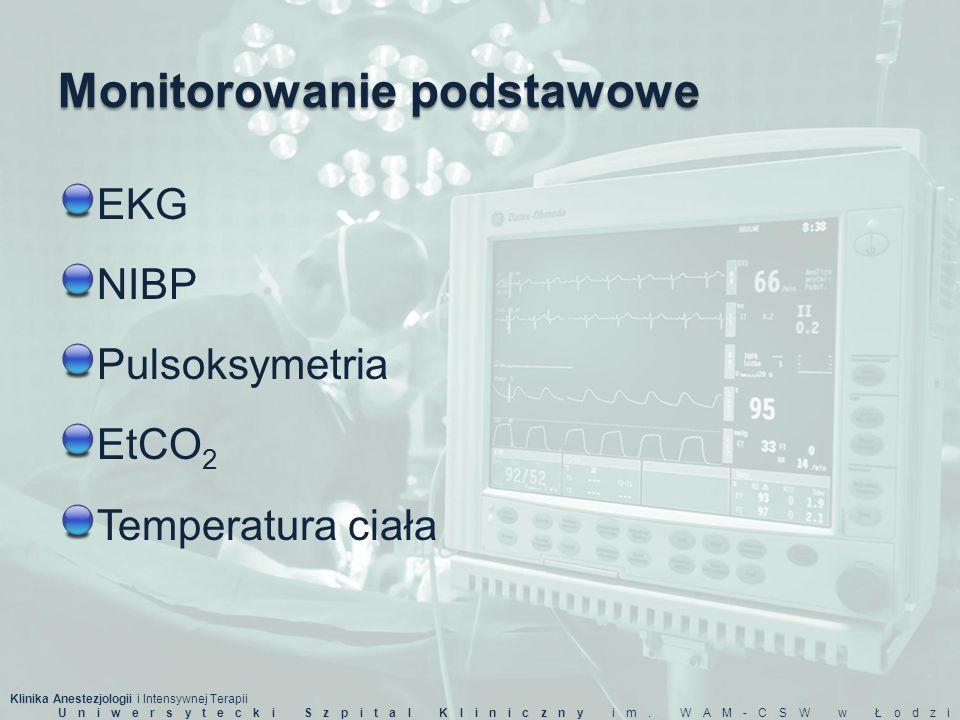 Klinika Anestezjologii i Intensywnej Terapii Uniwersytecki Szpital Kliniczny im. WAM-CSW w Łodzi Monitorowanie podstawowe EKG NIBP Pulsoksymetria EtCO