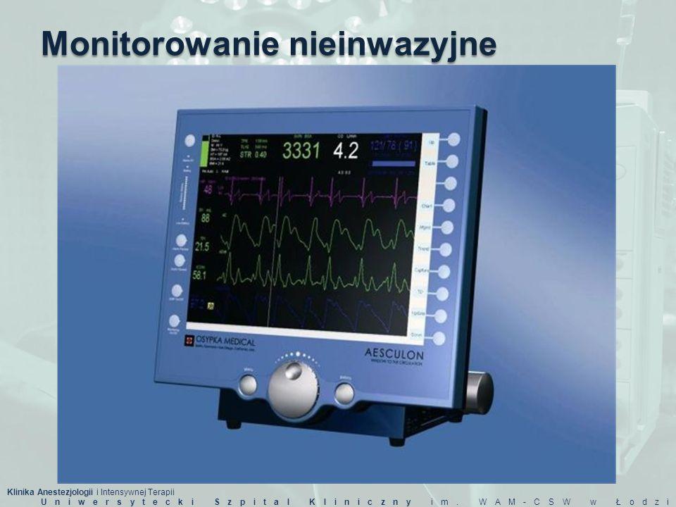 Klinika Anestezjologii i Intensywnej Terapii Uniwersytecki Szpital Kliniczny im. WAM-CSW w Łodzi Monitorowanie nieinwazyjne
