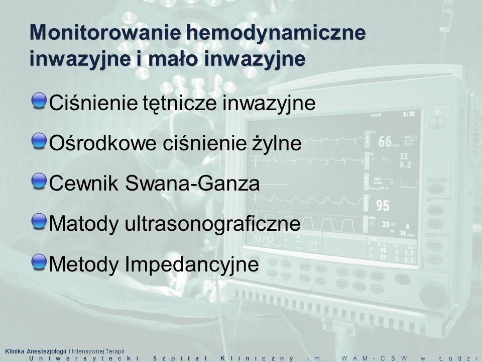Klinika Anestezjologii i Intensywnej Terapii Uniwersytecki Szpital Kliniczny im. WAM-CSW w Łodzi Monitorowanie hemodynamiczne inwazyjne i mało inwazyj