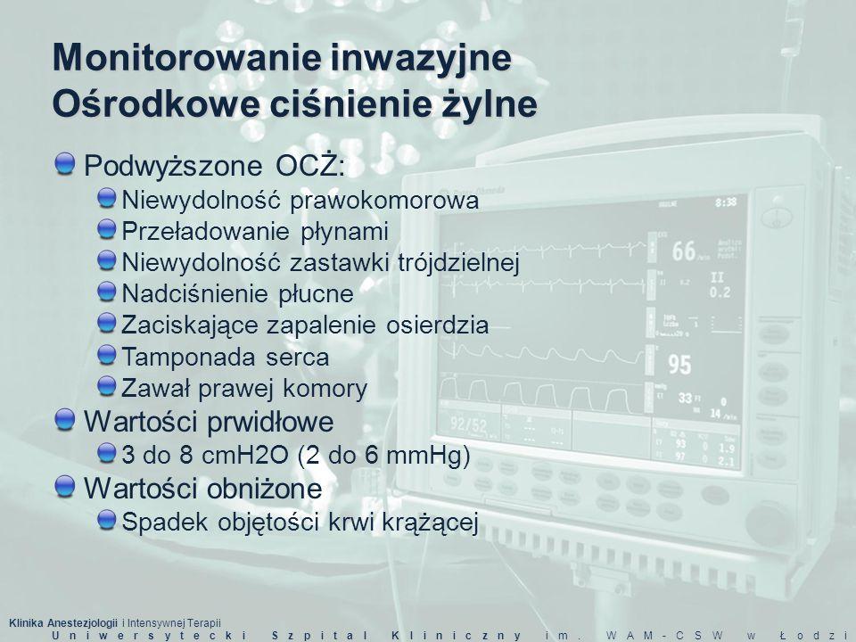 Klinika Anestezjologii i Intensywnej Terapii Uniwersytecki Szpital Kliniczny im. WAM-CSW w Łodzi Monitorowanie inwazyjne Ośrodkowe ciśnienie żylne Pod
