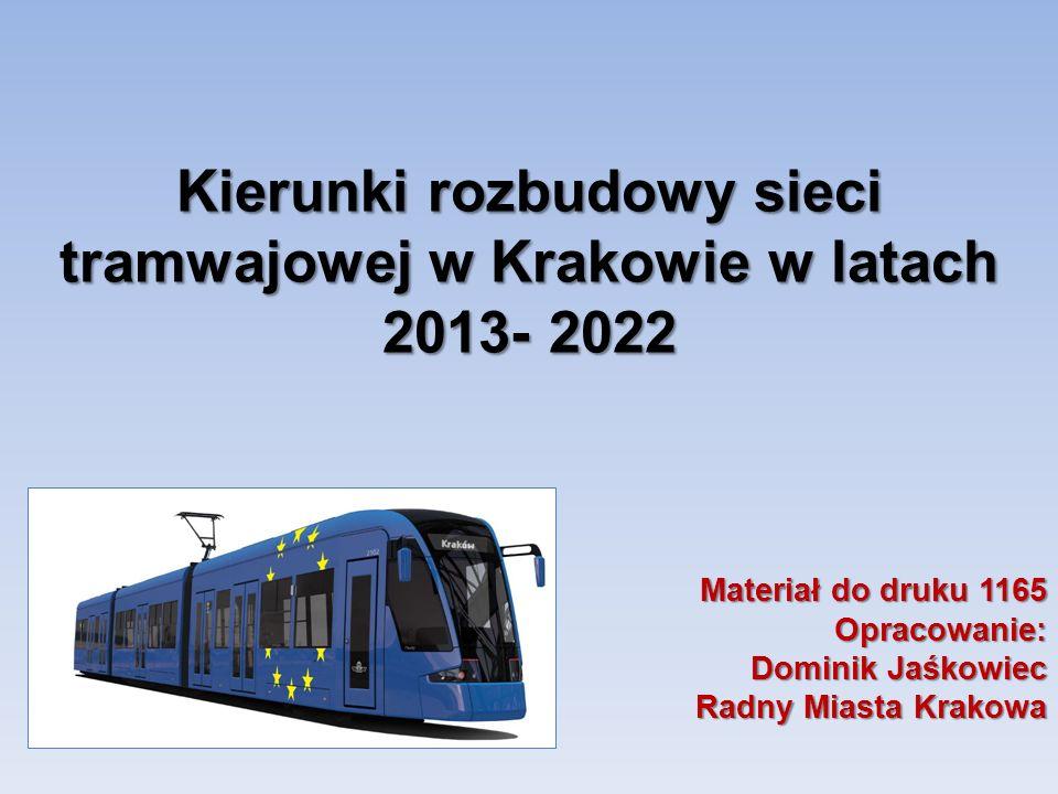 Kierunki rozbudowy sieci tramwajowej w Krakowie w latach 2013- 2022 Materiał do druku 1165 Opracowanie: Dominik Jaśkowiec Radny Miasta Krakowa