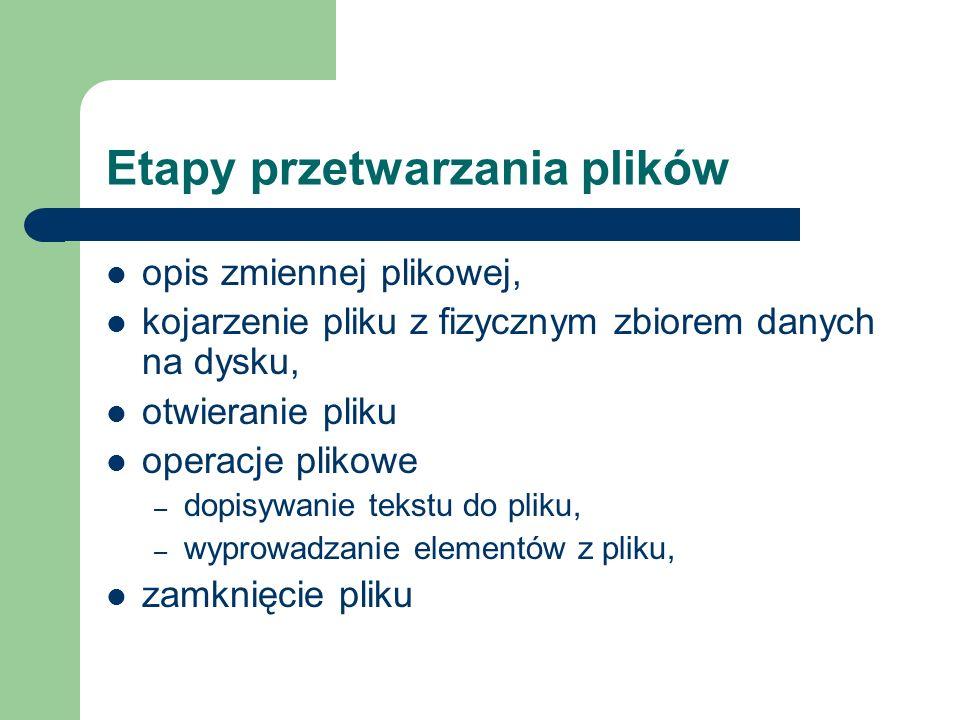 Opis zmiennej plikowej dla pliku tekstowego TYPE zmienna_plikowa=Text; lub VAR zmienna_plikowa: Text; np.