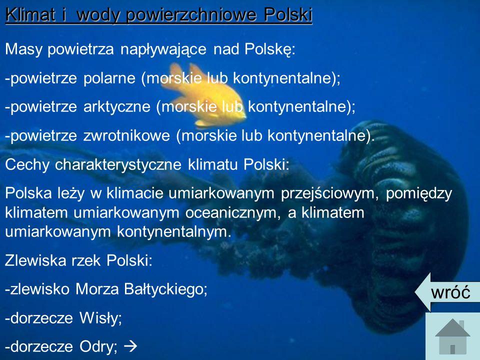 Klimat i wody powierzchniowe Polski Masy powietrza napływające nad Polskę: -powietrze polarne (morskie lub kontynentalne); -powietrze arktyczne (morskie lub kontynentalne); -powietrze zwrotnikowe (morskie lub kontynentalne).